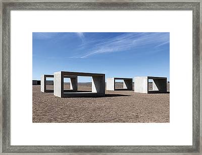 Judd's Cubes By Donald Judd In Marfa Framed Print
