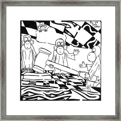 Judicial Monkeys Team Of Monkeys Maze Cartoon By Yonatan Frimer Framed Print by Yonatan Frimer Maze Artist