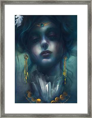 Framed Print featuring the digital art Judith V1 by Te Hu