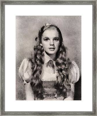 Judy Garland Vintage Hollywood Actress As Dorothy In The Wizard Of Oz Framed Print by John Springfield