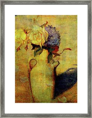 Jug With Yellow And Violet Flowers Framed Print by Sarah Vernon