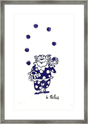 Juggling Clown Framed Print by Barry Nelles Art