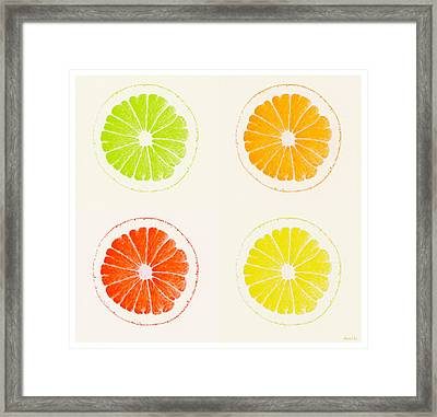 Juicy Citrus Framed Print by Little Bunny Sunshine