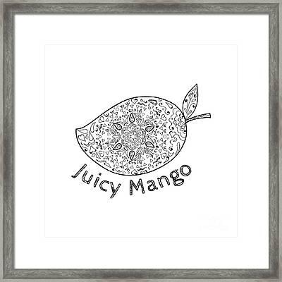 Juicy Mango Black And White Mandala  Framed Print
