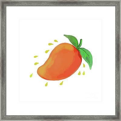 Juicy Mango Fruit Watercolor Framed Print by Aloysius Patrimonio