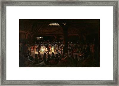 Jules Tavernier    Dance In A Subterranean Roundhouse At Clear Lake California Framed Print