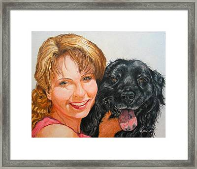 Framed Print featuring the drawing Juli And Sam by Karen Ilari