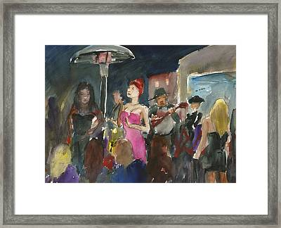 Julia May And The Penguin Players Framed Print