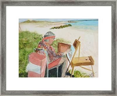 Framed Print featuring the painting Julia Painting At Boynton Inlet Beach  by Donna Walsh