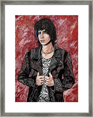 Framed Print featuring the painting Julian Casablancas Red by Sarah Crumpler
