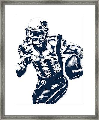 Julian Edelman New England Patriots Pixel Art 2 Framed Print by Joe Hamilton