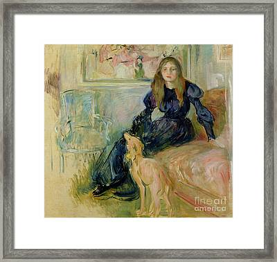 Julie Manet And Her Greyhound Laerte Framed Print