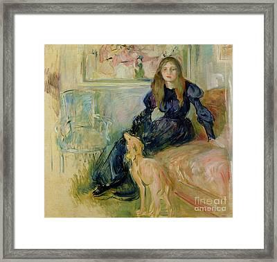 Julie Manet And Her Greyhound Laerte Framed Print by Berthe Morisot