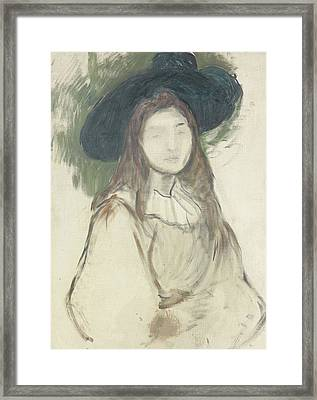 Julie Manet Au Chapeau Liberty Framed Print by Berthe Morisot