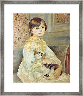 Julie Manet With Cat Framed Print by Pierre Auguste Renoir