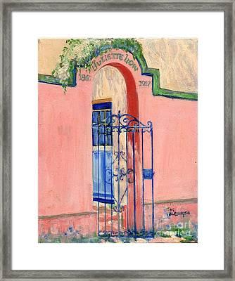 Framed Print featuring the painting Juliette Low Garden Gate Savannah by Doris Blessington