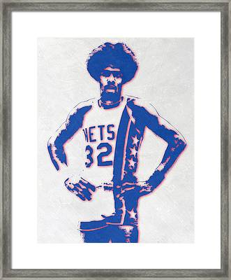 Julius Erving New York Nets Pixel Art Framed Print