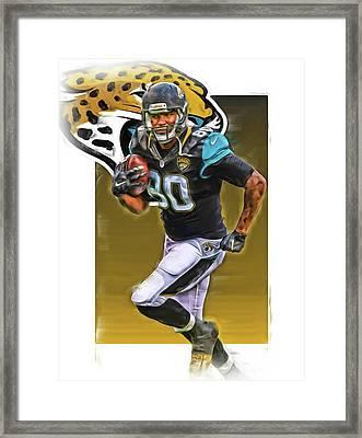 Julius Thomas Jacksonville Jaguars Oil Art Framed Print by Joe Hamilton