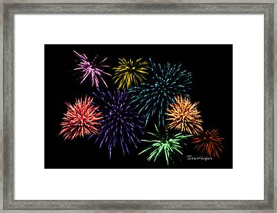 July Fireworks Montage Framed Print by Terri Harper