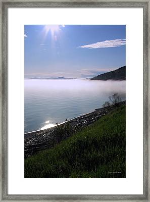 July Stroll On Lake Superior Framed Print by Laura Wergin Comeau