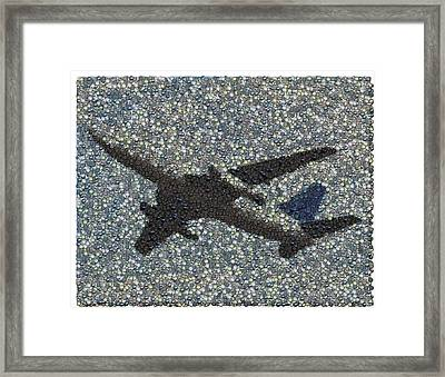 Framed Print featuring the mixed media Jumbo Jet Airplane Made Of Cockpit Panel Dials Mosaic by Paul Van Scott