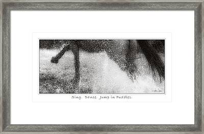 Jump In Puddles Framed Print by Joan Davis