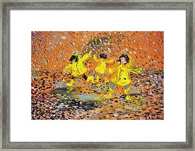 Jump In The Puddle Framed Print