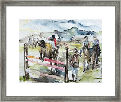 Jumping A Course Framed Print by Barbara Pommerenke