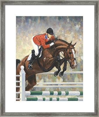 Jumping Horse And Girl Framed Print
