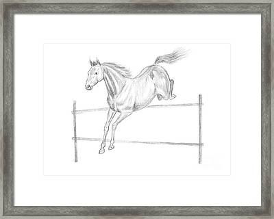 Jumping Horse Drawing Framed Print by GoodMood Art