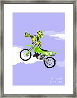 Jumping In Freestyle On A Green Motocross Framed Print