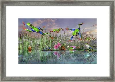 Jumping Joy Spring Time Frogs Framed Print