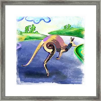 Jumping Kangaroo Framed Print by Bedros Awak