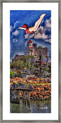 Jumping The Breakers Framed Print by Bob Winberry