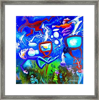 Framed Print featuring the painting Jumping Through Tv Land by Genevieve Esson
