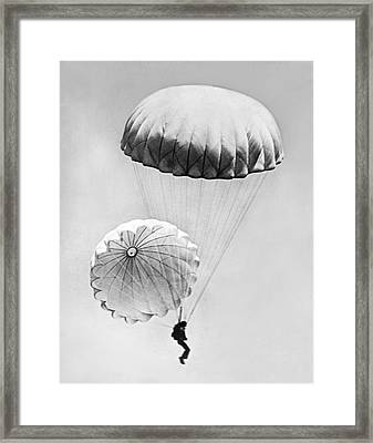 Jumping With Two Parachutes Framed Print by Underwood Archives