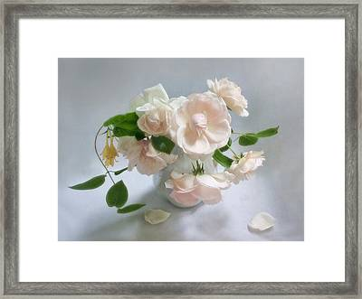 June Roses With Honeysuckle Framed Print