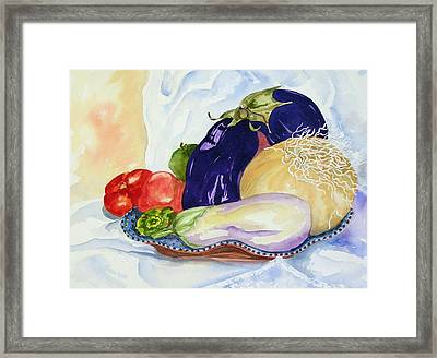 Framed Print featuring the painting June's Veggies by Pat Crowther