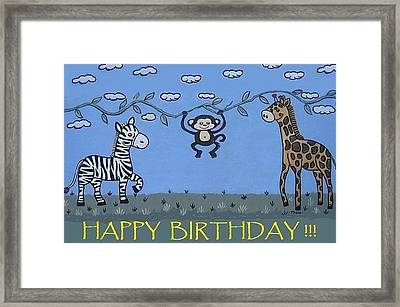 Jungle Animals Happy Birthday Framed Print by Suzanne Theis