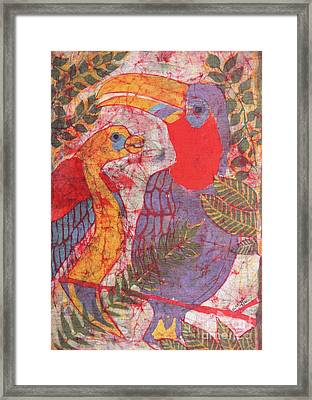 Jungle Chit Chat Batik Framed Print