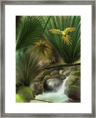 Framed Print featuring the digital art Jungle Parrot by Darren Cannell