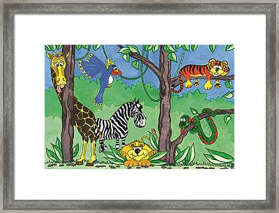 Jungle Party Framed Print by Kirsty Breaks