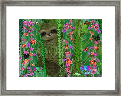 Jungle Sloth Framed Print by Nick Gustafson