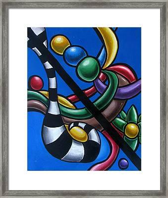 Jungle Stripes 3 - Original Abstract Art Painting - Modern Chromatic Art Framed Print