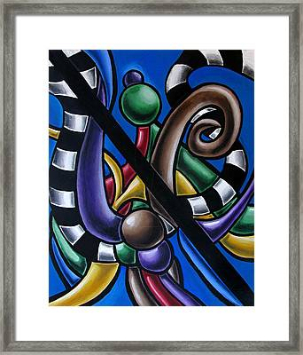 Jungle Stripes 2, Colorful Chromatic Abstract Artwork Framed Print