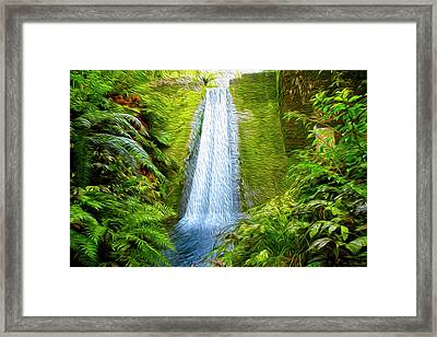 Jungle Waterfall Framed Print by Les Cunliffe