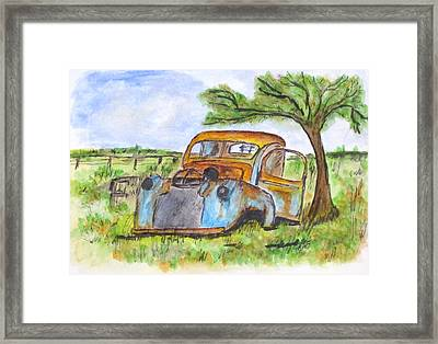 Junk Car And Tree Framed Print by Clyde J Kell