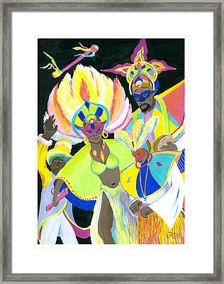 Junkanoo Dancers Framed Print by Florence Bramley Hill