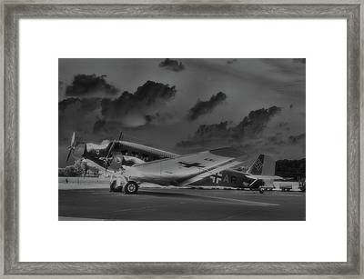 Junkers Ju52 Black And White Framed Print
