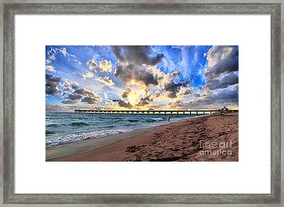 Juno Beach Pier Florida Sunrise Seascape D7 Framed Print by Ricardos Creations